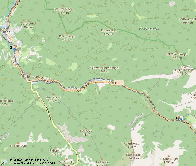 In- en uitstap punten van de Erzbach