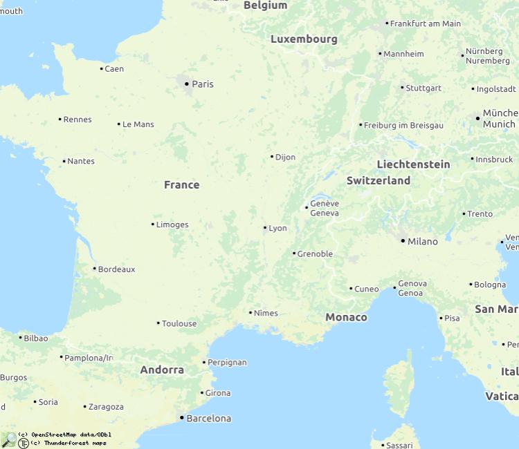 Kaart met beschreven rivieren in Frankrijk