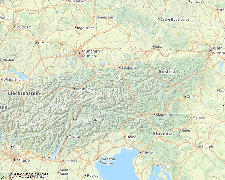 Kaart met beschreven rivieren in Oostenrijk