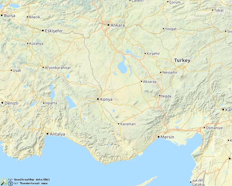 Kaart met beschreven rivieren in Turkije