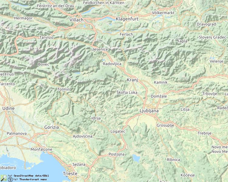 Kaart met beschreven rivieren in Slovenië